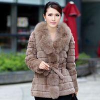 Winter Ladies' Genuine Real Rabbit Fur Coat Jacket with Fox Fur collar Natural Women Fur Outerwear Coats Cotton Linning VK0172