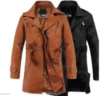 2012 brand New Slim Sexy Top Designed Mens Pu Leather Jacket Coat Hoodies  Classic Black Size M-XXL