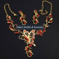 MIN.ORDER $15,fashion golden rhinestone jewelry set for bride,flying butterfly