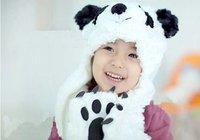 Free shipping,1 sets,2014 new cartoon panda shape the children hats scarves gloves, children cap,Velvet,white
