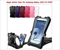 Luxury Design Butterfly Magic Mirror Protective Case For Samsung Galaxy SIII S3 i9300+retail box;Free shipping 10pcs