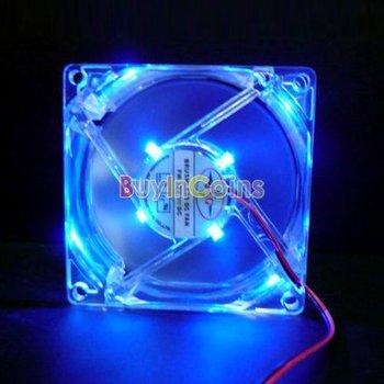 1Pcs 80mm Fans 4 LED Blue for Computer PC Case Cooling  #1834