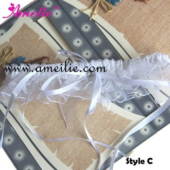 Free Shipping Retail Special Wedding Party Bridal Garters with Bow in White for Wedding