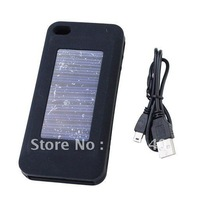 1900mAh Rechargeable Silicone Solar Energy External Power Battery Back Case for iPhone 3G/3GS/4G-Black