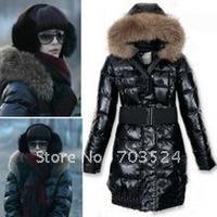 2014 new women's down coat large fur collar medium-long collar type of women ' s clothing