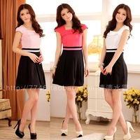 White collar formal set small square collar sweet gentlewomen color block short-sleeve dress plus size clothing