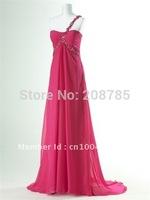Free shipping  Hot sale  Sheath Celebrity Dresses Beaded  Rhinestone Anke lengt h Open back  Watteau