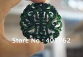 Double-sided transparent sculpture, natural green jade, Ssangyong send blessings to send (longevity) (amulets).Necklace pendant