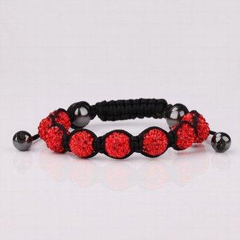 Free Shipping!!! Quality 9 Red Rhinestone Crystal Disco Balls Beaded Shamballa Bracelet, Handmade Shambala Bracelets (SBB101)