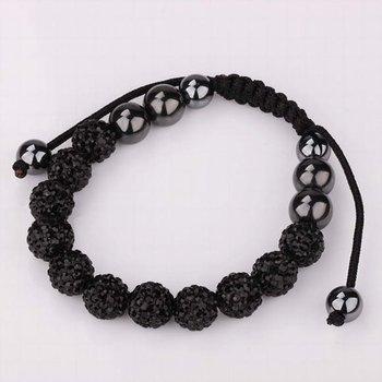 Free Shipping!!! Quality 11 Black Rhinestone Crystal Disco Balls Beaded Shamballa Bracelet, Handmade Shambala Bracelets (SBB122)