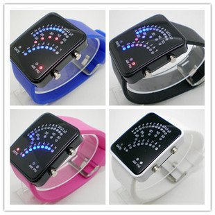 2013 led binary Free shipping Fashion Binary LED Light Unisex Watch(China (Mainland))