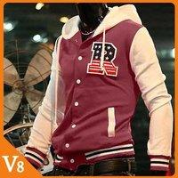 V8 / Free Shipping! / 2012  Gray Black / Thicker fleece jacket baseball uniform baseball shirt/ V-7009
