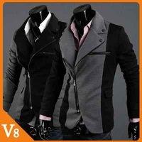 V8 / Free Shipping! / 2013  Gray Black / Irregular zipper design of mixed colors Ponte Slim Men jacket / V-7008
