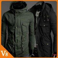 V8 / Free Shipping! / 2013  Green, black / In long hooded windbreaker jacket men's waist / V-7010