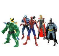 6x Marvel Super Hero Batman Hulk Wolverine Thor Spiderman Captain America Figure Free shipping