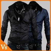 V8 / Free Shipping! / 2013  Men thread Bottom casual jacket rain wind stand collar jacket / slim men coat jacket/ V-7013
