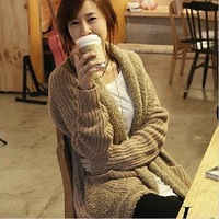 Free Shipping 2012 Newest Fall Winter Design Fuzzy Wool Patchwork Loose Sweater Plus Size Cardigans(Beige+Average)120905#1