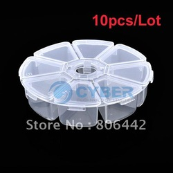 Free Shipping 10pcs/Lot NEW Clear Round Nail Art Tips Bead Display Storage Box Container Case 8 Compartments(China (Mainland))