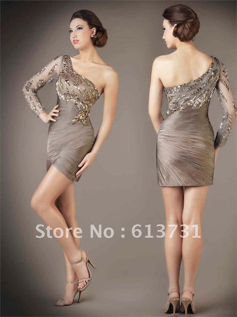 One Shoulder Long Sleeve Dress