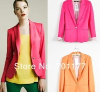 free shipping, fashion women's new arrival 2013 candy color turn-down collar blazer slim suit jacket female