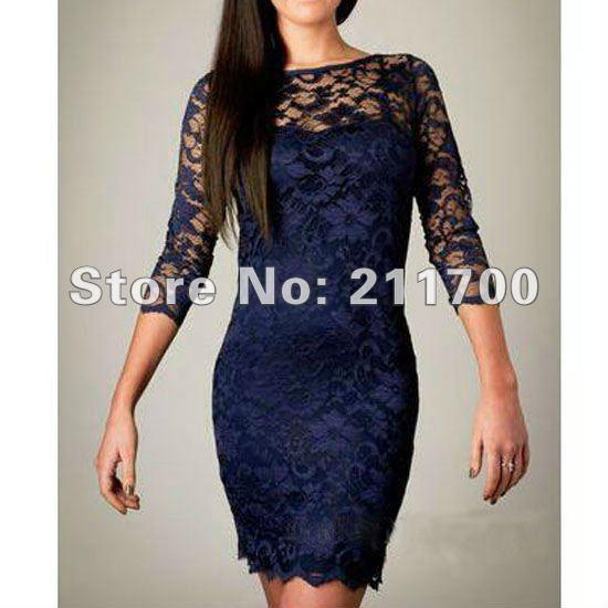 2012 New Womens Fashion Lace Mini Dress Slim Flower One-shoulder 3/4 ...