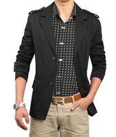 fashion men's jacket cotton Blazer men casual coat outerwear clothes Slim Stylish fit two Buttons Suit