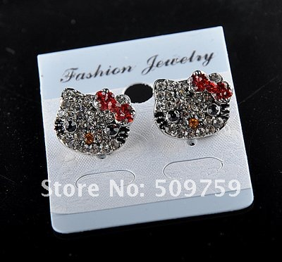 Very hot fashion hello kitty earring Hello kitty eardrop Crystal eardrop costume jewelry Very beautiful(China (Mainland))