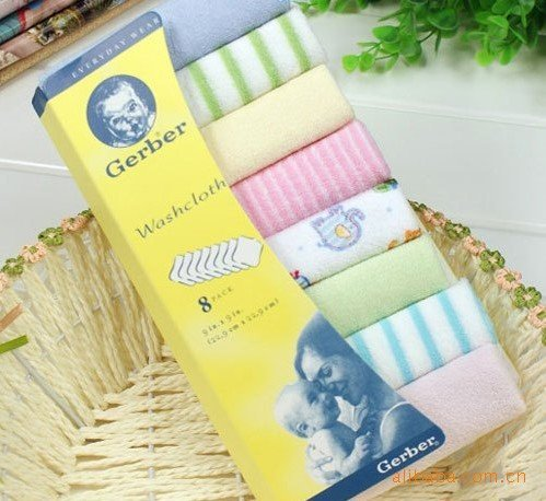 MJ034 8 pack baby washcloth handkerchief(China (Mainland))