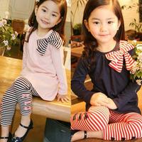 NEW ARRIVAL baby girls culottes set autumn 2012 stripe bow child long-sleeve Clothing dress set