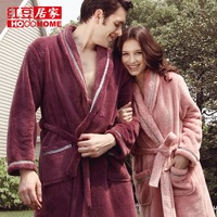 79 lovers robe globalsources at home service autumn and winter male female long bathrobe solid color thickening clothing coral