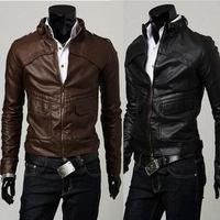 2015 Brand Free shipping  Men mandarin collar winter leather jacket men splice slim Jacket Outerwear 2-color,M-XXL