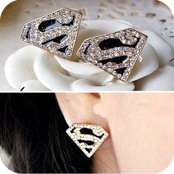12pcs/lot Free Shipping 2014 HOT gold  superman stud earring, vintage imitation diamond earrings for women,es350