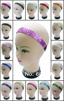 Free Shipping-Hot Pink 348pcs/lot Assorted Colors Girls Softball Glitter Headbands
