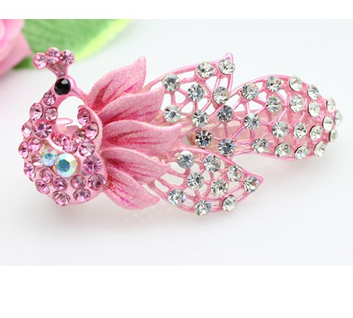 10pcs/lot Free Shipping High Quality Fashion Jewelry Vintage Peacock Hairclips Full Stones Ornament accessory Assorted Colors(China (Mainland))