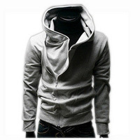 2013 autumn and winter outerwear  oblique zipper with a hood sweatshirt slim sweatshirt men's clothing grey hoodie