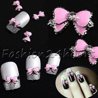 20pcs Pink 3d Alloy Bow Tie Rhinestones Nail Art DIY Decoration Glitters Slices Free Shipping