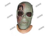 Sport Full Face Skeleton Tactical Mask with Mesh Metal Eye Shield Green free ship