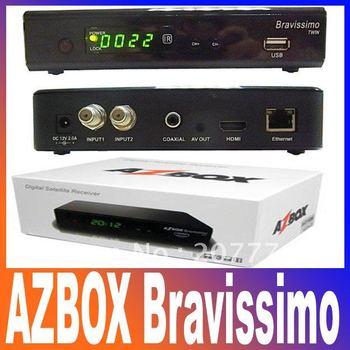 Azbox Bravissimo Satellite Receiver Twin Tuner Support Nagra3 Decoder Az Box Bravissimo HD Linux OS For South America At Stock