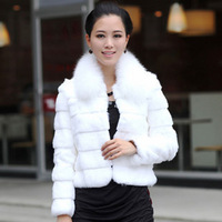 2014 mona fox small square collar full leather rabbit fur female fur coat - 12 fur coat