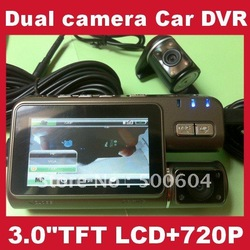 HD 720P Car black box, Dual lens Car DVR Camera dash video recorder 3.0 inch TFT LCD Portable camcorder with Extra AV-in Camera(Hong Kong)