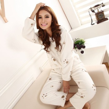 2013 Women's Super Soft White Printing Hooded Suit Pajamas, T-shirt + Pants, Free Shipping