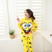 Coral Velvet Hooded SpongeBob Women Pajamas, Women's Pajamas Sets, Free Shipping, Shirt + Pants