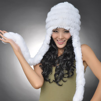 hot sale high quality  winter rex rabbit hair fur hat ear protector cap female rabbit fur hat winter thermal