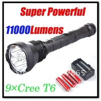 11000lm Super Powerful 9x CREE T6 LED  Flashlight Torch +3x18650 3800mAh Batteries+Charger Free Shipping