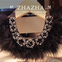 Fluffy black feather rhinestone flower back strap luxury collar necklace female gift
