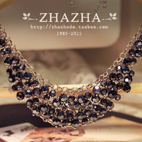 Summer high quality black crystal necklace for female gift false collar