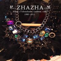 luxury Rhinestone chain gem black feather false collar necklace gift  item