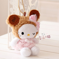 Free shipping HELLO KITTY biscuit kitty plush keychain toy pendant cell phone 15cm