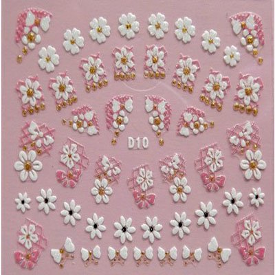 D10 Flower Colorful Designs Decals Stickers Assorted For Nail Art Decoration 3D Nail Stickers(China (Mainland))
