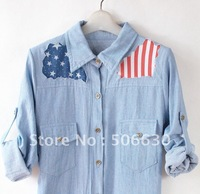 Free Freight  with embroidery  decorate full sheet  jean shirt  Summer-Autumn shirt-025